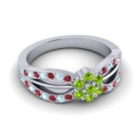 Simple Floral Pave Kalikda Peridot Ring with Aquamarine and Ruby in 18k White Gold