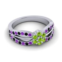 Simple Floral Pave Kalikda Peridot Ring with Black Onyx and Amethyst in Palladium