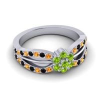 Simple Floral Pave Kalikda Peridot Ring with Black Onyx and Citrine in Palladium