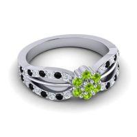 Simple Floral Pave Kalikda Peridot Ring with Black Onyx and Diamond in Palladium