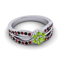 Simple Floral Pave Kalikda Peridot Ring with Black Onyx and Garnet in Palladium