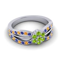 Simple Floral Pave Kalikda Peridot Ring with Citrine and Blue Sapphire in Platinum