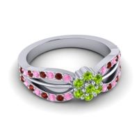 Simple Floral Pave Kalikda Peridot Ring with Garnet and Pink Tourmaline in 14k White Gold
