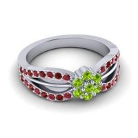 Simple Floral Pave Kalikda Peridot Ring with Garnet and Ruby in Platinum