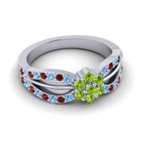 Simple Floral Pave Kalikda Peridot Ring with Garnet and Swiss Blue Topaz in 18k White Gold