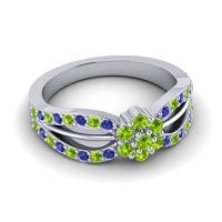 Simple Floral Pave Kalikda Peridot Ring with Blue Sapphire in Palladium