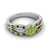 Simple Floral Pave Kalikda Peridot Ring with Garnet in 14k White Gold