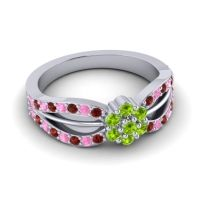 Simple Floral Pave Kalikda Peridot Ring with Pink Tourmaline and Garnet in 18k White Gold