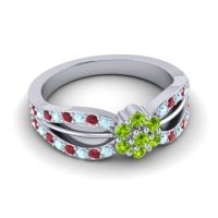 Simple Floral Pave Kalikda Peridot Ring with Ruby and Aquamarine in 14k White Gold
