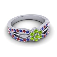 Simple Floral Pave Kalikda Peridot Ring with Ruby and Blue Sapphire in Palladium