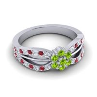 Simple Floral Pave Kalikda Peridot Ring with Ruby and Diamond in Palladium