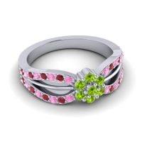 Simple Floral Pave Kalikda Peridot Ring with Ruby and Pink Tourmaline in Platinum