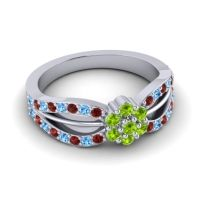 Simple Floral Pave Kalikda Peridot Ring with Swiss Blue Topaz and Garnet in Platinum