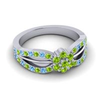 Simple Floral Pave Kalikda Peridot Ring with Swiss Blue Topaz in 18k White Gold