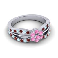 Simple Floral Pave Kalikda Pink Tourmaline Ring with Aquamarine and Garnet in Platinum