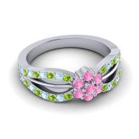 Simple Floral Pave Kalikda Pink Tourmaline Ring with Aquamarine and Peridot in 14k White Gold