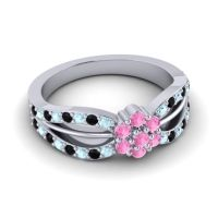 Simple Floral Pave Kalikda Pink Tourmaline Ring with Black Onyx and Aquamarine in 18k White Gold