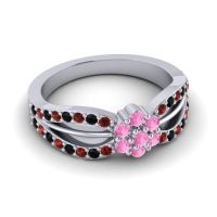 Simple Floral Pave Kalikda Pink Tourmaline Ring with Black Onyx and Garnet in 14k White Gold