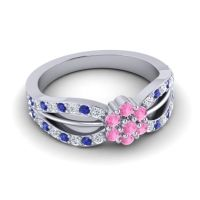 Simple Floral Pave Kalikda Pink Tourmaline Ring with Blue Sapphire and Diamond in Platinum