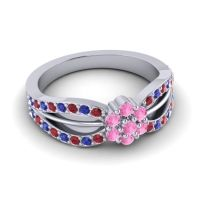 Simple Floral Pave Kalikda Pink Tourmaline Ring with Blue Sapphire and Ruby in Palladium