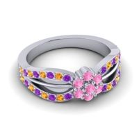 Simple Floral Pave Kalikda Pink Tourmaline Ring with Citrine and Amethyst in 18k White Gold