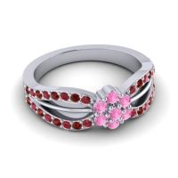 Simple Floral Pave Kalikda Pink Tourmaline Ring with Garnet and Ruby in 18k White Gold