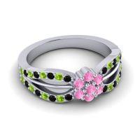 Simple Floral Pave Kalikda Pink Tourmaline Ring with Peridot and Black Onyx in Palladium