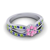 Simple Floral Pave Kalikda Pink Tourmaline Ring with Peridot and Blue Sapphire in 18k White Gold