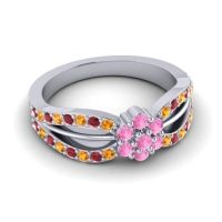 Simple Floral Pave Kalikda Pink Tourmaline Ring with Ruby and Citrine in 14k White Gold