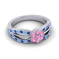 Simple Floral Pave Kalikda Pink Tourmaline Ring with Swiss Blue Topaz and Blue Sapphire in Platinum