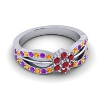 Simple Floral Pave Kalikda Ruby Ring with Amethyst and Citrine in Palladium