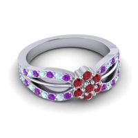 Simple Floral Pave Kalikda Ruby Ring with Aquamarine and Amethyst in Palladium