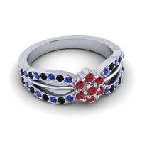 Simple Floral Pave Kalikda Ruby Ring with Black Onyx and Blue Sapphire in Palladium