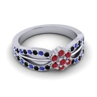 Simple Floral Pave Kalikda Ruby Ring with Blue Sapphire and Black Onyx in Palladium