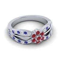 Simple Floral Pave Kalikda Ruby Ring with Blue Sapphire and Diamond in 18k White Gold