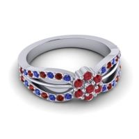 Simple Floral Pave Kalikda Ruby Ring with Garnet and Blue Sapphire in 18k White Gold