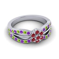 Simple Floral Pave Kalikda Ruby Ring with Peridot and Amethyst in 18k White Gold