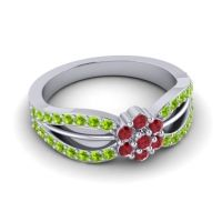 Simple Floral Pave Kalikda Ruby Ring with Peridot in Platinum