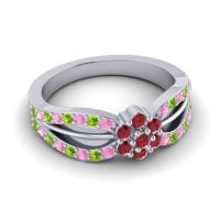 Simple Floral Pave Kalikda Ruby Ring with Peridot and Pink Tourmaline in 18k White Gold