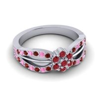 Simple Floral Pave Kalikda Ruby Ring with Pink Tourmaline and Garnet in 18k White Gold