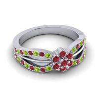 Simple Floral Pave Kalikda Ruby Ring with Peridot in Palladium