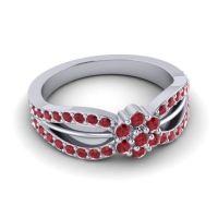 Simple Floral Pave Kalikda Ruby Ring in 14k White Gold