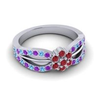 Simple Floral Pave Kalikda Ruby Ring with Swiss Blue Topaz and Amethyst in Palladium