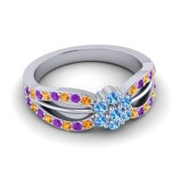 Simple Floral Pave Kalikda Swiss Blue Topaz Ring with Amethyst and Citrine in Palladium