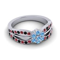 Simple Floral Pave Kalikda Swiss Blue Topaz Ring with Black Onyx and Ruby in 18k White Gold