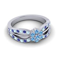 Simple Floral Pave Kalikda Swiss Blue Topaz Ring with Blue Sapphire and Aquamarine in Palladium