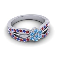 Simple Floral Pave Kalikda Swiss Blue Topaz Ring with Blue Sapphire and Ruby in Platinum