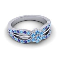 Simple Floral Pave Kalikda Swiss Blue Topaz Ring with Blue Sapphire in 18k White Gold