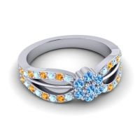 Simple Floral Pave Kalikda Swiss Blue Topaz Ring with Citrine and Aquamarine in 18k White Gold