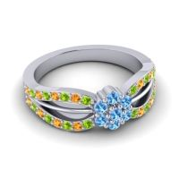 Simple Floral Pave Kalikda Swiss Blue Topaz Ring with Citrine and Peridot in 14k White Gold